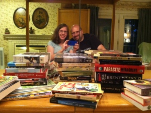 Look at us, so happy surrounded by our new books!